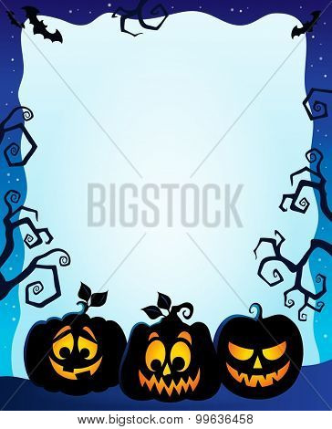 Night frame with pumpkin silhouettes - eps10 vector illustration.