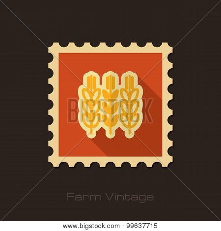 Spikelets Wheat Retro Flat Stamp With Long Shadow