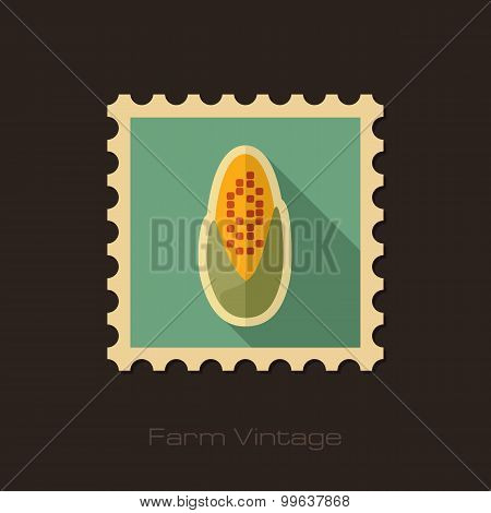 Corncob Retro Flat Stamp With Long Shadow