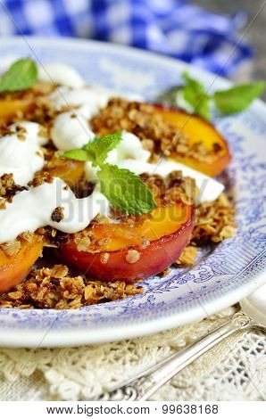 Grilled Peachs With Granola And Whipped Cream.
