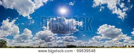 Sky With Cumulus Clouds In The Countryside