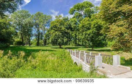Decorative Bridge In A Park In A Summer Sunny Day