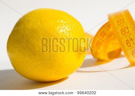 Lemon and measure tape, idea lose weight