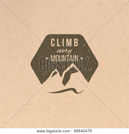 Climb every mountain label in vintage style