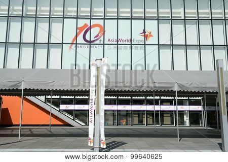 HONG KONG - JUNE 04, 2015: the AsiaWorld-Expo building.  The AsiaWorldExpo is one of the two major convention and exhibition facilities in Hong Kong