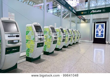 ROME, ITALY - AUGUST 04, 2015: self check-in kisosk in airport of Rome. Fiumicino Airport, is a major international airport in Rome, Italy