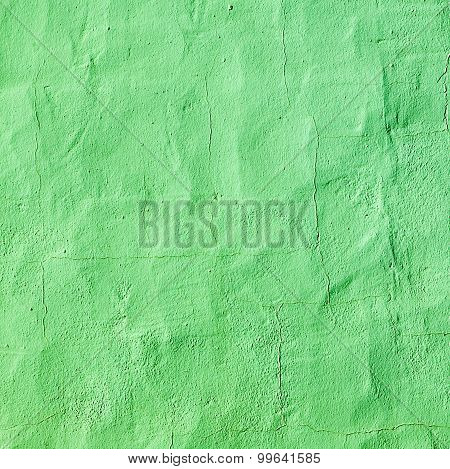 Green Painted Old Concrete Wall