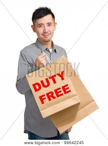 Asian man hold with shopping bag and showing duty free