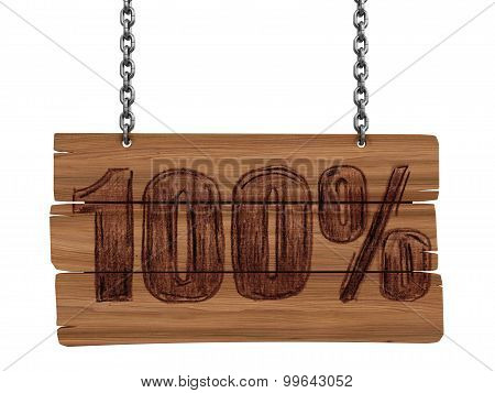 Wooden Blackboard with 100% (clipping path included)