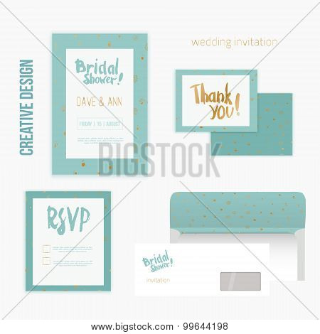 Set of wedding invitation cards with thank you card, RSVP card, envelope in mint vintage style and g