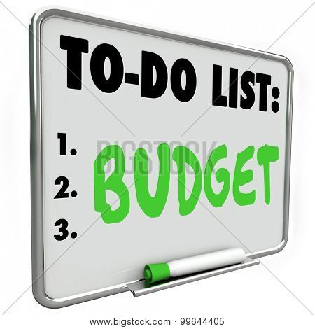 Budget word written on to-do list with green marker or pen to illustrate importance of planning costs and income to save money