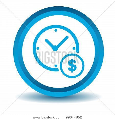 Time dollar icon, blue, 3D