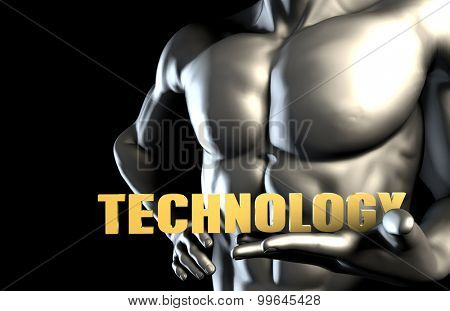 Technology With a Business Man Holding Up as Concept