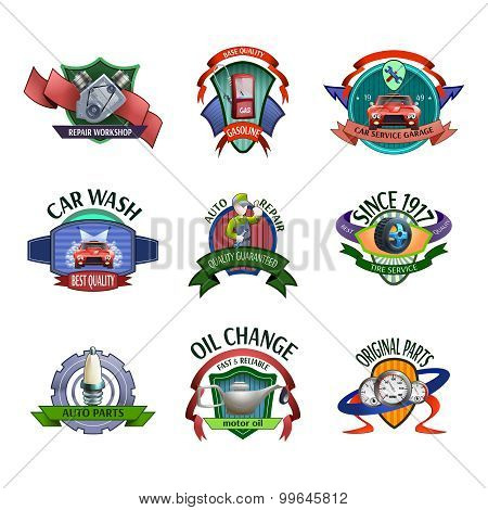 Auto mechanic service emblems set