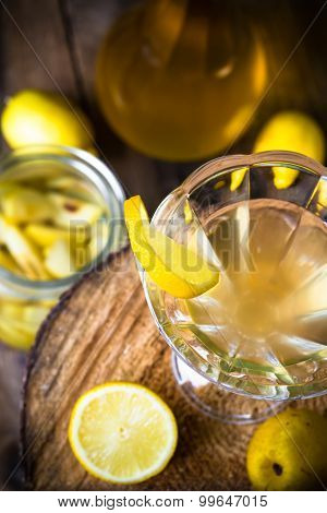Alcohol Quince Liqueur Sliced Fruit Jar Wooden Cups