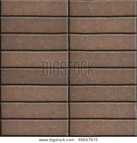 Paving Slabs Brown Lined with Narrow Rectangles.