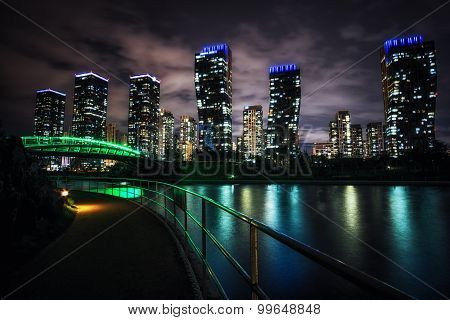 Songdo Canal Night Reflection