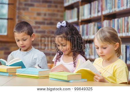 Pupils reading books in library at the elementary school