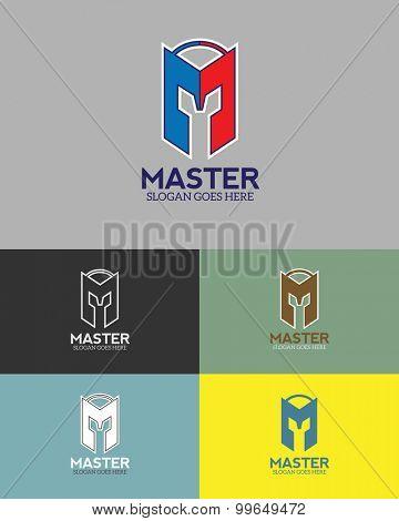 Simples Helmet vector logo design template.