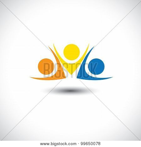 Lively Happy Excited People Friends Logo Concept Vector Icon