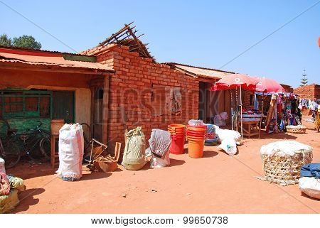 A Street In The Village Pomerini Where The Market Is Held, Tanzania, Africa