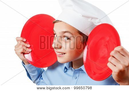 Young Chef Like A Monkey Grimassy, Humor, Chef's Hat. Isolated Studio