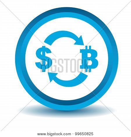 Dollar-bitcoin exchange icon, blue, 3D