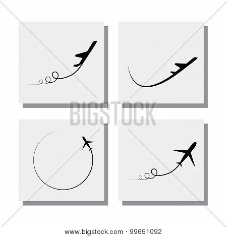 Set Of Airplane Take-off And Flying Designs - Vector Icons