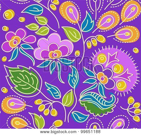 Seamless Violet Pattern Of Fl...