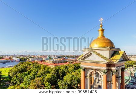 View From The Colonnade Of St. Isaac's Cathedral In Saint Petersburg