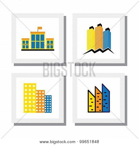 Set Of Logo Designs Of Colorful Buildings & Houses - Vector Icons