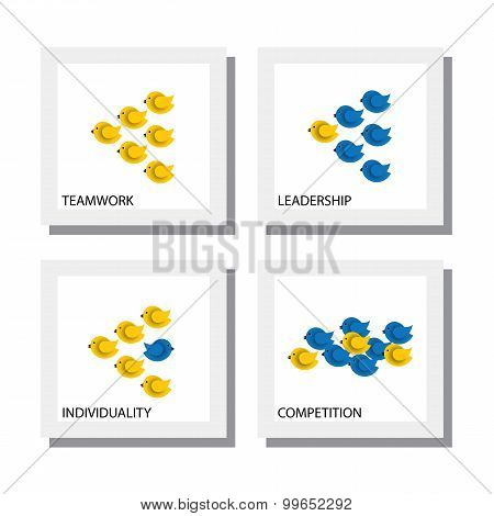 Set Of Birds As Concepts Of Competition Leadership Teamwork - Vector Icons