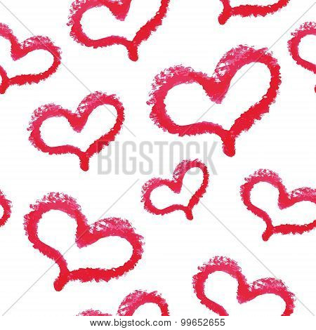 Seamless pattern - red lipstick hand drawn hearts
