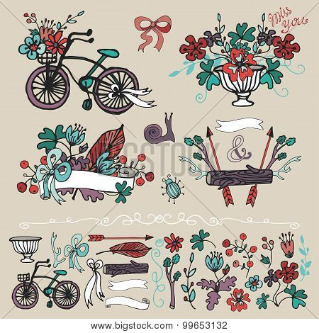Doodle floral group,hand sketch element set