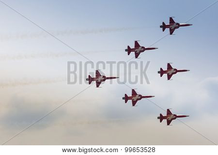 Radom, Poland - August 22: Patrouille Suisse (switzerland) Aerobatic Display Team During Air Show Ra