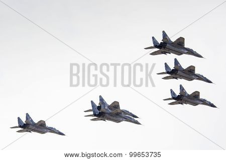 Radom, Poland - August 23:unidentified Pilots From Polish Army Present Lockheed Martin F-16 During A