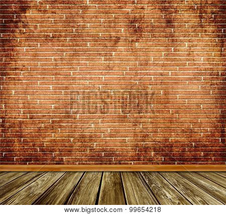 Old Bricks Wall And Wooden Floor Background.