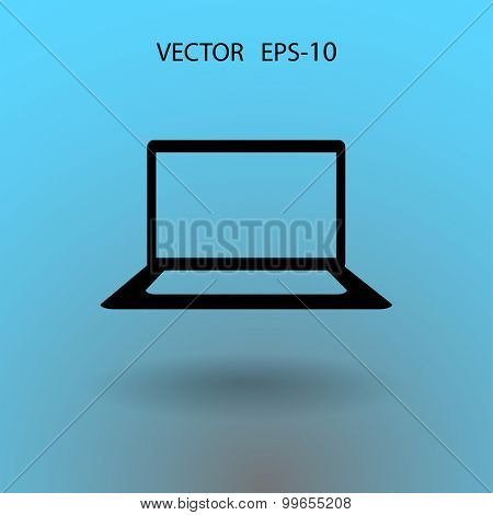 Flat icon of laptop