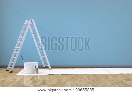 3d render of renew a room with a ladder