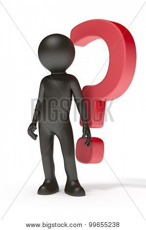 An image of a black man with a red question mark