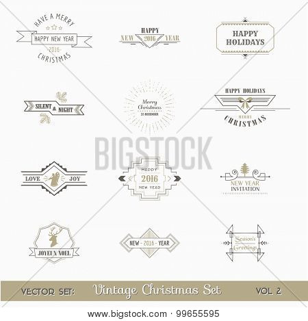 Vector Set: Christmas and New Year Calligraphic Design Elements and Page Decoration, Vintage Frames