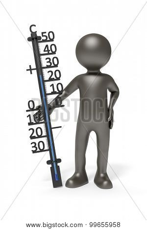 An image of a simple 3d black man holding a thermometer