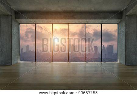 Lofty apartment with wooden floor and large windows during sunrise
