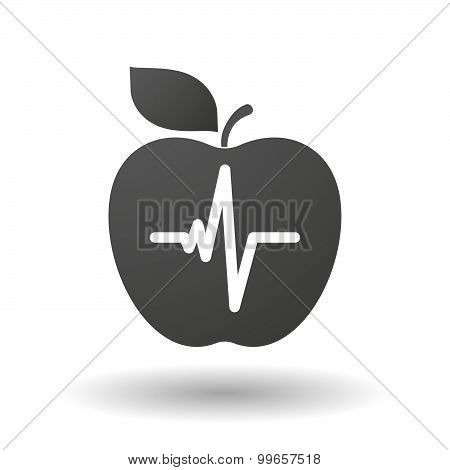Apple Icon With A Heart Beat Sign