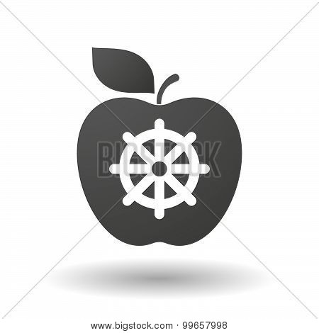 Apple Icon With A Dharma Chakra Sign