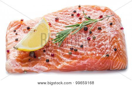 Salted salmon fillet on the white background.
