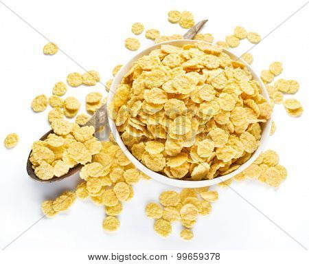 Cornflakes cereal on a white bowl. Morning breakfast.