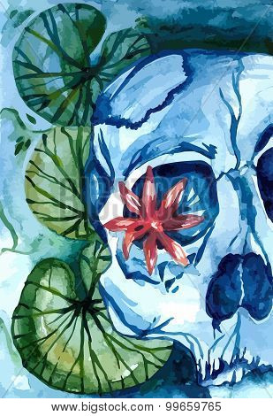 Aquarelle Skull With Lotus In The River