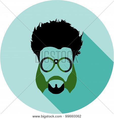 Super hero mask glasses, beard, hair. Flat style avatar icon