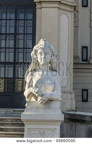 Sphinx Sculpture At Belvedere Palace In Summer, Vienna